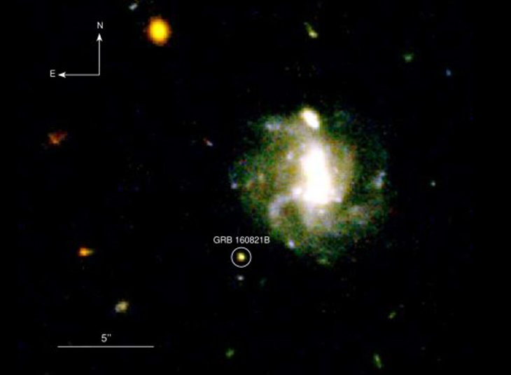 A distant stellar collision with the shine of precious metals